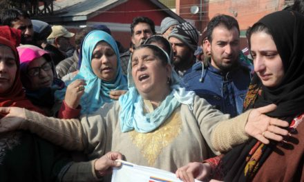 Family of Bilal Ahmad Kawa on Monday staged a protest in Srinagar to seek intervention of J and K CM Mehbooba Mufti