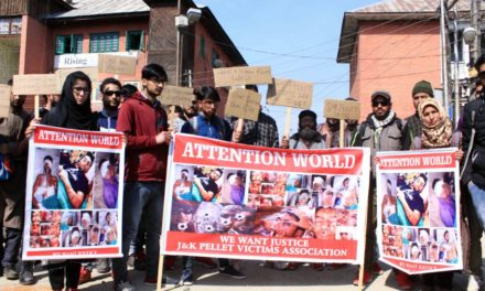 Pellet victims held protest says need no compensation from govt or sympathies from Separatists.