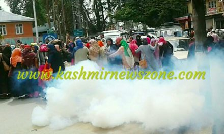 Anganwadi workers protest police use smoke shells to disperse them in Ganderbal