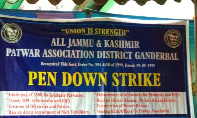 Ganderbal Patwari Association on Pen down strike
