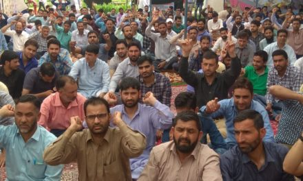 South Kashmir Patwari associations protested in mini Secretariat Kulgam under the banner of all Jammu And Kashmir Patwarie Association