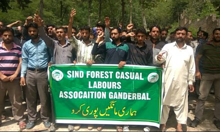 Casual labourers of forest deparment Ganderbal protest against wage disparity