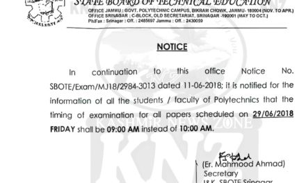 J&K State Board of Technical Education Notice.