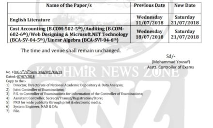 Kashmir University Student Special by Ehsaan Yousf The examination in the following papers of BG 5th & 6th Semester  Regular/Fresh Private, Batch-2015 (Session June-July, 2018) shall now be held as  per the revised schedule given below: