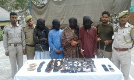 Four held with Brown sugar, arms and ammunition in Kupwara
