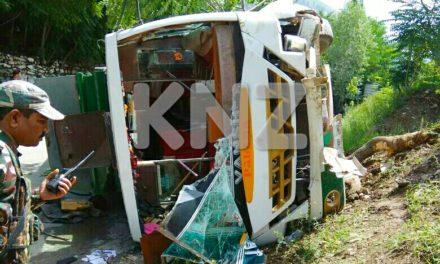 Two Amarnath pilgrims injured as Yatra bus turns turtle In Kangan