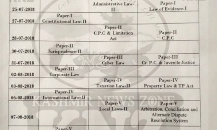 KU: Date-Sheet BA.LL.B 6th & 8th Semester and LL.B 5th semester session July-August 2018