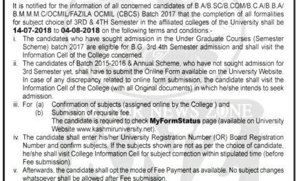 KU: Admission Notification For UG 3rd & 4th Semester (Under Choice Based Credit System Semester Scheme) REGULAR-2018.