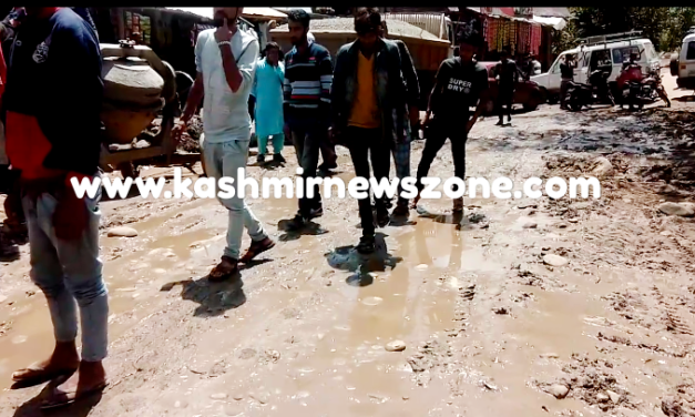 People of Nandimarg Kulgam Protested against the PMGSY department for having hand in glow with contractor.