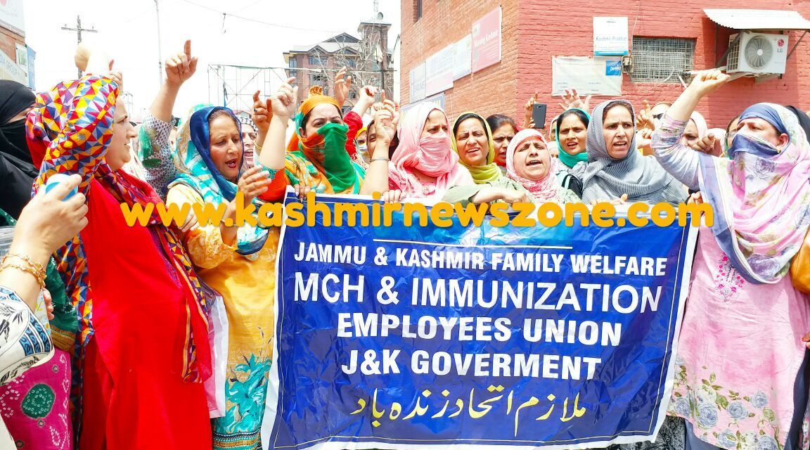 Family welfare department protests at Press Colony Srinagar.