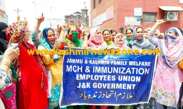 Family welfare department protests at Press Colony Srinagar.