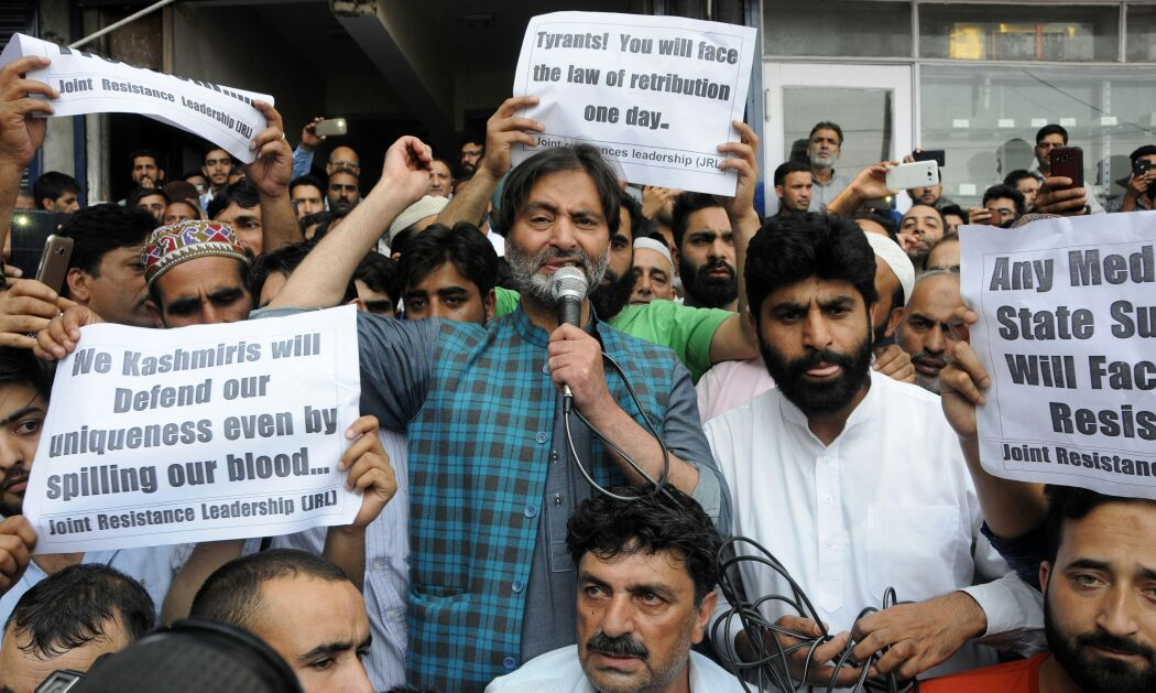 JKLF protests against 'proposed' abrogation of Article 35-A, 'State subject law matter of life for JK people: Malik