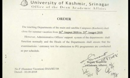 KU announces summer vacation from August 16-25, exams as per schedule