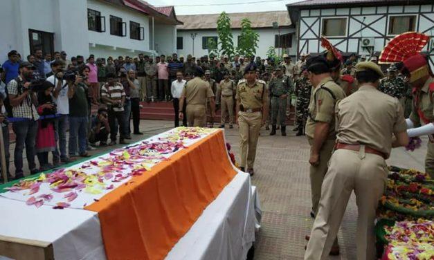 Wreath laying ceremony for Parvaiz Ahmad held at DPL Srinagar.