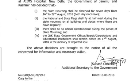 J&K Government declares gazetted holiday in honour of ex-PM AB Vajpayee on Friday.