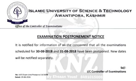 IUST: Postponement of Semester Examinations     Ehsaan Yousf.