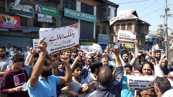 Civil society and citizens council Tral protests ahead of article 35-A hearing tomorrow