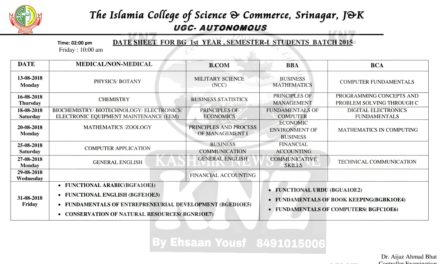 Islamia College Of Science and Commerce Date Sheet for UG 1st Semester 2015 Batch Backlog