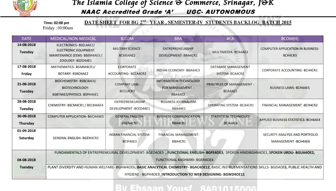 Islamic College of Science and Commerce Date Sheet for UG 4th Semester 2015 Batch Backlog.