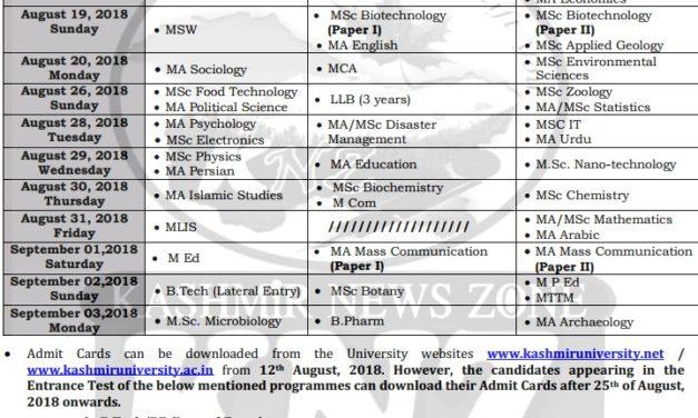Kashmir University Date sheet for PG Entrance Examinations –2018.
