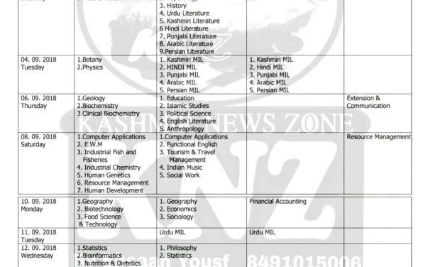 Cluster University of Srinagar REVISED Date Sheet for B.A, B.Sc. B.Com (Under-graduate) Programmes REGULAR & BACKLOG 1st Semester (2018).