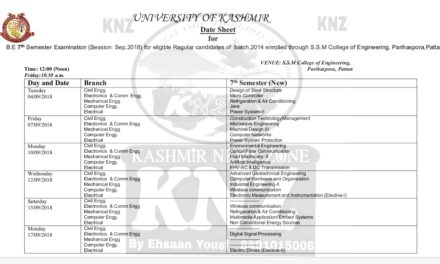 KU: Date Sheet for B.E 7th Semester Examination (Session: Sep,2018) for eligible Regular candidates of batch,2014 enrolled through S.S.M College of Engineering, Parihaspora,Pattan.