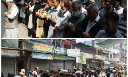 On JRL call, funeral prayers in absentia held for Qazigund, Kulgam martyrs