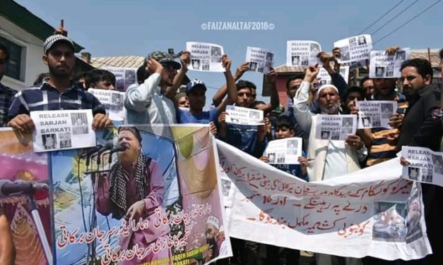 Sarjan Barkati's family stages protest in Kashmir capital, appeals for his release