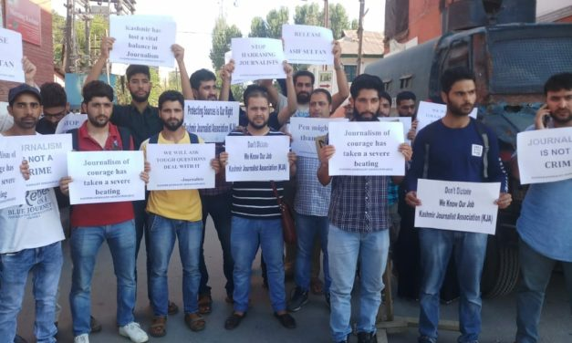 Kashmir Journalists Association (KJA) held a protest demonstration on Wednesday demanding the release of Journalist Asif Sultan