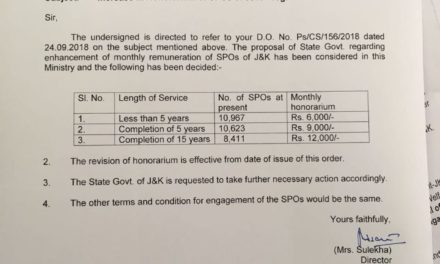 Govt orders substantial hike in remuneration of SPOs