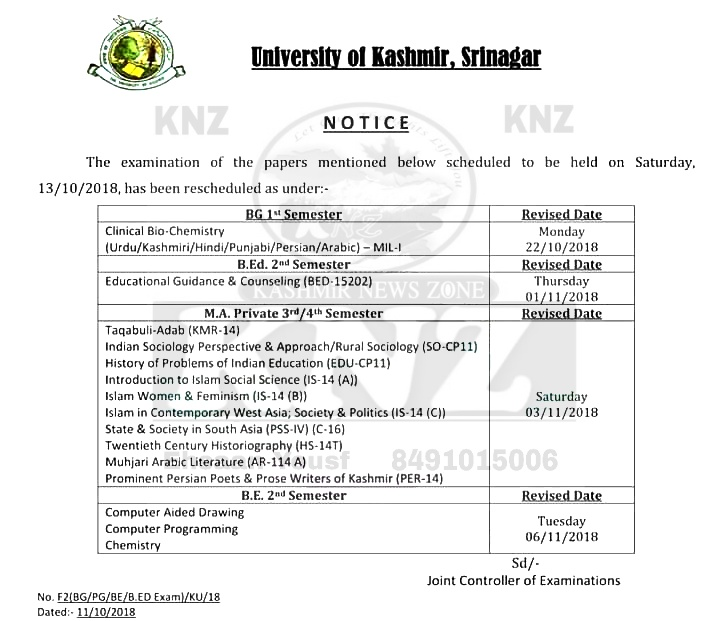 KU: IMPORTANT NOTICE for BG 1st Semester/M.A. Private 3rd/4th Semester/BE 2nd Semester and B.Ed. 2nd Semester students regarding the examination of the papers scheduled to be held on Saturday, 13-10-2018