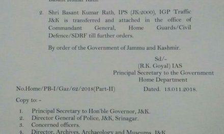 Basant Rath transferred; Alok Kumar is new IGP Traffic JK