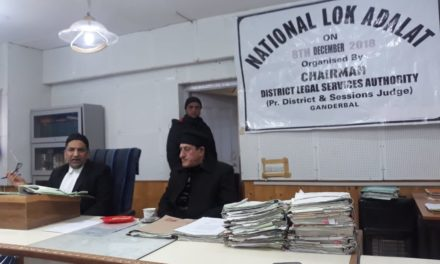 National LokAdalatheld at District Court Ganderbal & Minsiff Court Kangan, 451 cases were taken up in which 224 cases disposed off