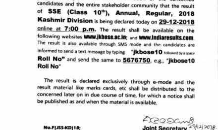 Results of class 10th regular examination of Kashmir division will be declared 8pm tonight.