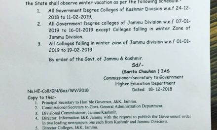 Winter vacations announced for Jammu and Kashmir colleges