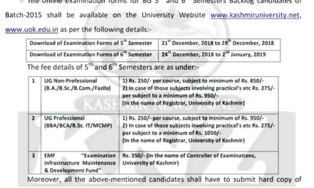 KU: Notice regarding submission of examination forms for B.G 5th & 6th Semester (BACKLOG) candidates – Batch: 2015
