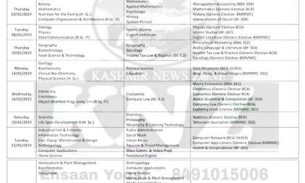 KU: Date-Sheet for B.G 3rd Semester – Regular/Fresh Private (CBCS – Batch 2017) examination of Kashmir & Jammu Divisions