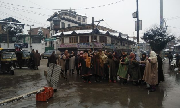 Women protest in downtown Srinagar to demand release of jailed kin