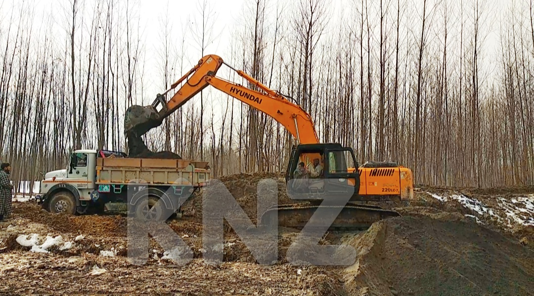 Popular Trees cut-down for illegal sand mining in Wakura Ganderbal