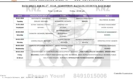 Islamia College of Science and Commerce, Srinagar Date-Sheet for B.G 4th Semester (BACKLOG) Batch 2015