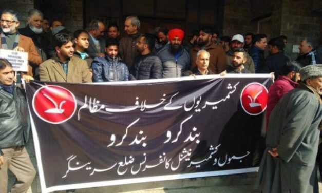 NC activists protest against harassment of Kashmiris outside valley