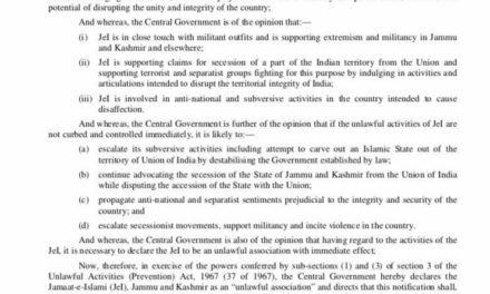 Govt bans Jamaat-i-Islami Jammu and Kashmir