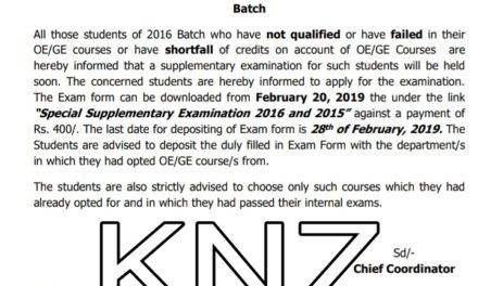 KU: Supplementary Examination for OE/GE Courses for 2016 and 2015 Batch; Dated: 16-2-2019