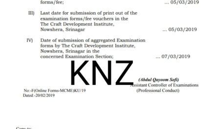 KU: Notification regarding submission of online examination forms, for MCME 4th Semester (Batch 2016), Regular/Backlog (Batch 2015)