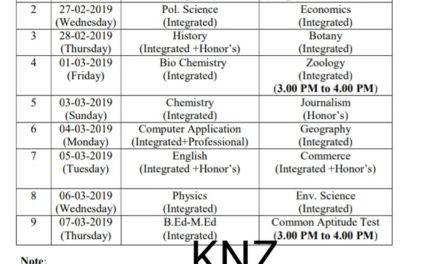 Cluster University Srinagar: Revised Date Sheet for Entrance Test 2019