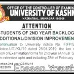 KU: Last date to submit 2nd Year (Annual Scheme) exam forms extended upto 28/02/2019