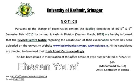 KU: Notice regarding REVISED CENTRE NOTICE and ADMIT CARDS of B.G 5th & 6th Semester (Backlog) Batch 2015