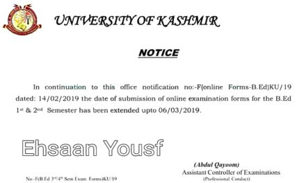 KU: Last date to submit B.Ed 1st & 2nd Semester examination forms extended upto March 06, 2019
