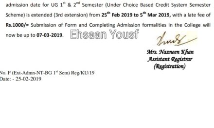 KU: Extension Notice for Admission (Under Choice Based Credit System-Semester Scheme) for Under Graduate Ist semester of 2019