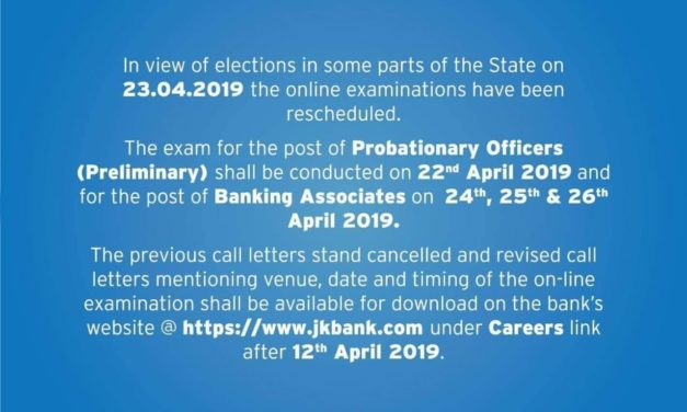 JK Bank reschedules probationary officer and banking associate exams